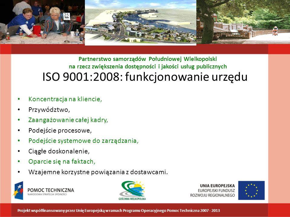 ISO 9001:2008: funkcjonowanie urzędu Koncentracja na kliencie, Przywództwo, Zaangażowanie całej kadry, Podejście procesowe, Podejście systemowe do zar