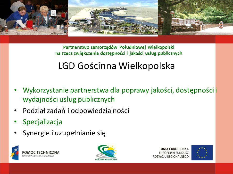 LGD Gościnna Wielkopolska Wykorzystanie partnerstwa dla poprawy jakości, dostępności i wydajności usług publicznych Podział zadań i odpowiedzialności