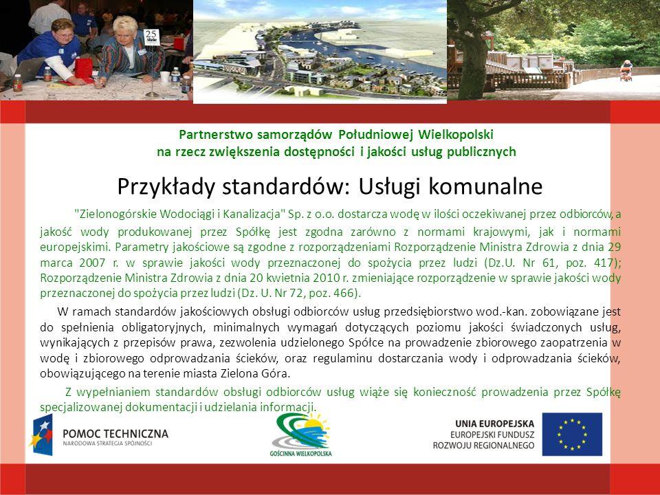 Przykłady standardów: Usługi komunalne