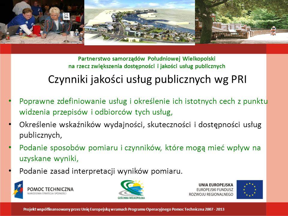 Czynniki jakości usług publicznych wg PRI Poprawne zdefiniowanie usług i określenie ich istotnych cech z punktu widzenia przepisów i odbiorców tych us