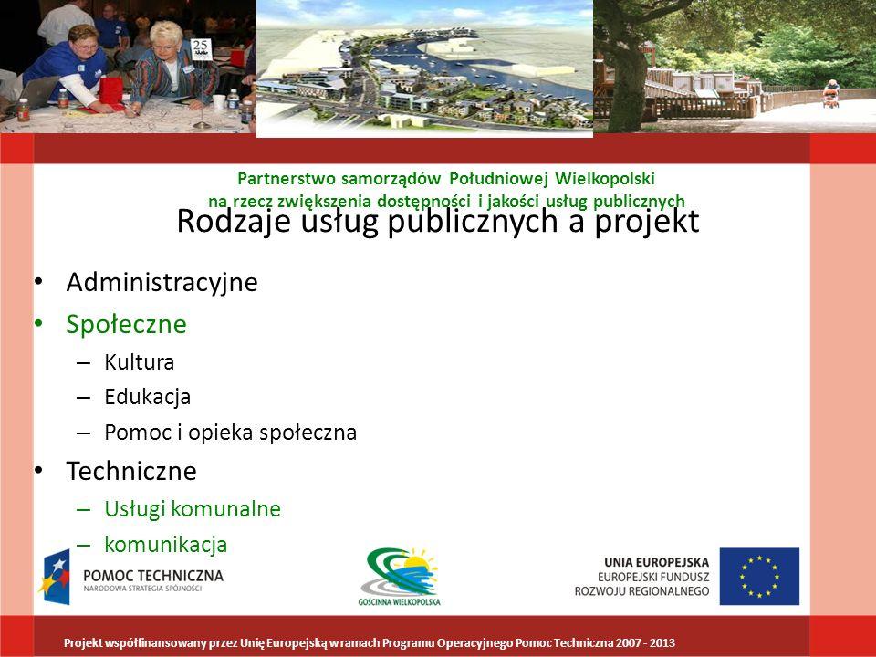 Rodzaje usług publicznych a projekt Administracyjne Społeczne – Kultura – Edukacja – Pomoc i opieka społeczna Techniczne – Usługi komunalne – komunika