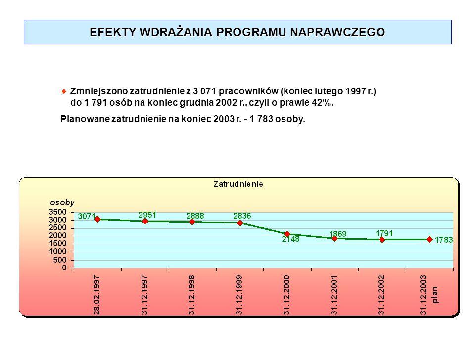 EFEKTY WDRAŻANIA PROGRAMU NAPRAWCZEGO Zmniejszono zatrudnienie z 3 071 pracowników (koniec lutego 1997 r.) do 1 791 osób na koniec grudnia 2002 r., cz