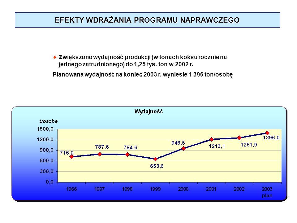 EFEKTY WDRAŻANIA PROGRAMU NAPRAWCZEGO Zwiększono wydajność produkcji (w tonach koksu rocznie na jednego zatrudnionego) do 1,25 tys. ton w 2002 r. Plan