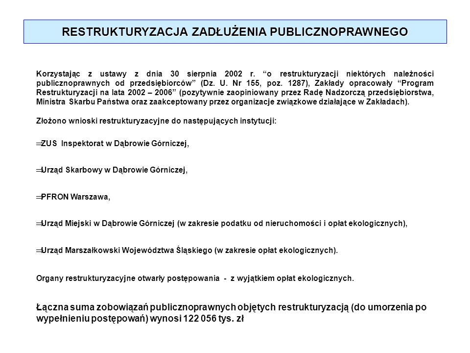 RESTRUKTURYZACJA ZADŁUŻENIA PUBLICZNOPRAWNEGO Korzystając z ustawy z dnia 30 sierpnia 2002 r. o restrukturyzacji niektórych należności publicznoprawny