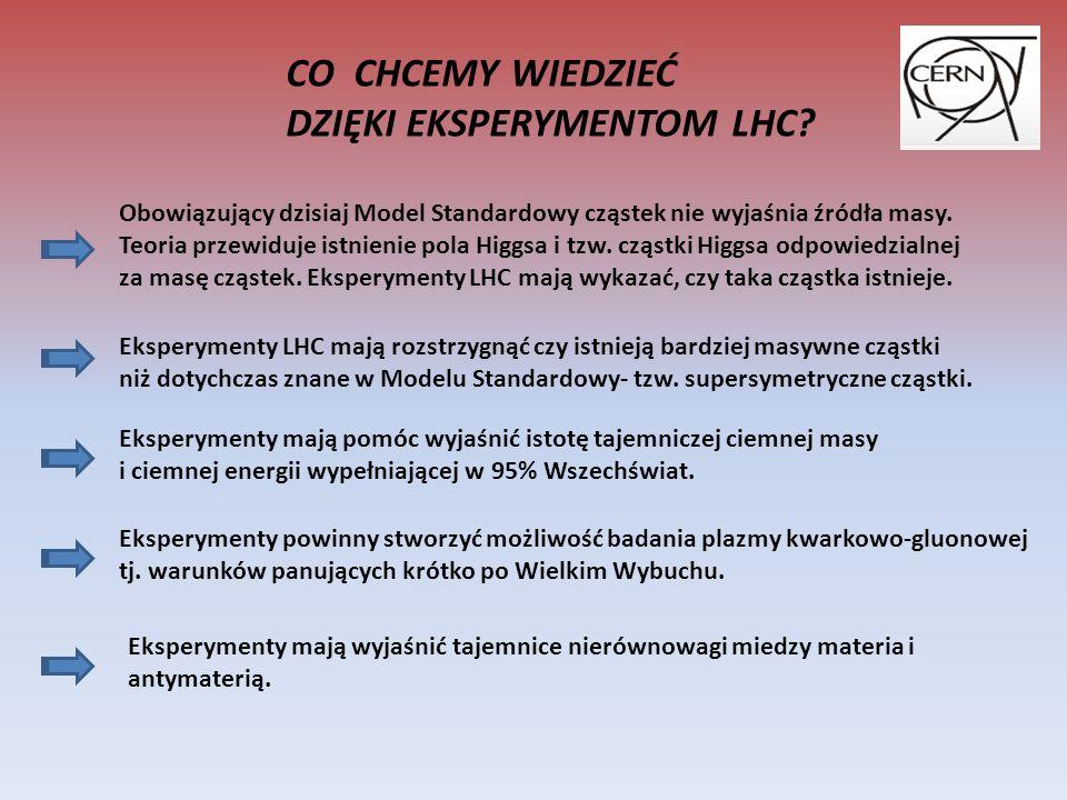 CO CHCEMY WIEDZIEĆ DZIĘKI EKSPERYMENTOM LHC.