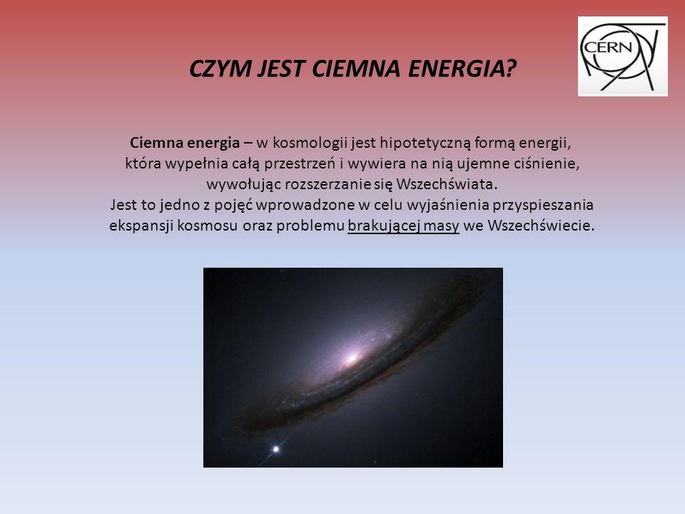 Ciemna energia – w kosmologii jest hipotetyczną formą energii, która wypełnia całą przestrzeń i wywiera na nią ujemne ciśnienie, wywołując rozszerzanie się Wszechświata.