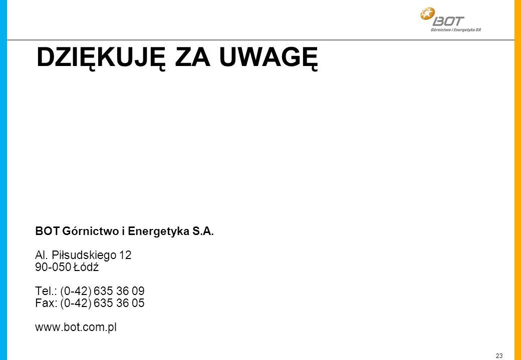 23 Linien DZIĘKUJĘ ZA UWAGĘ BOT Górnictwo i Energetyka S.A. Al. Piłsudskiego 12 90-050 Łódź Tel.: (0-42) 635 36 09 Fax: (0-42) 635 36 05 www.bot.com.p