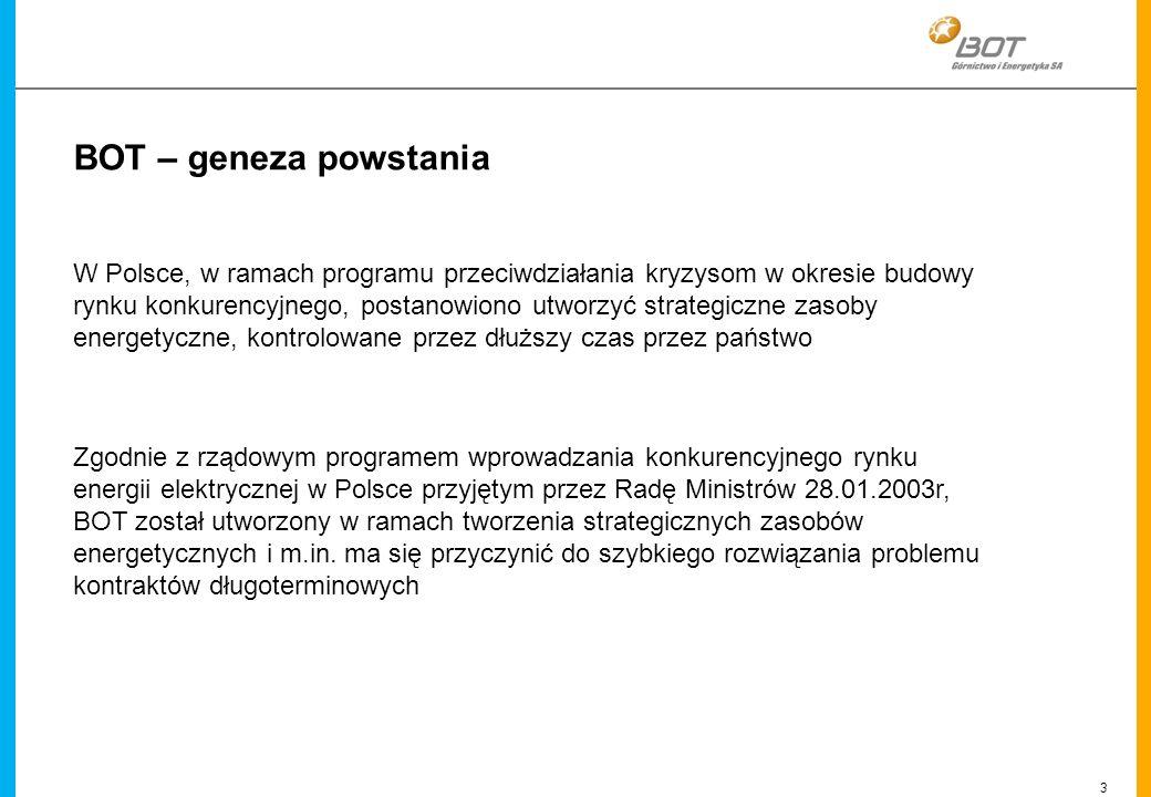3 Linien BOT – geneza powstania W Polsce, w ramach programu przeciwdziałania kryzysom w okresie budowy rynku konkurencyjnego, postanowiono utworzyć st
