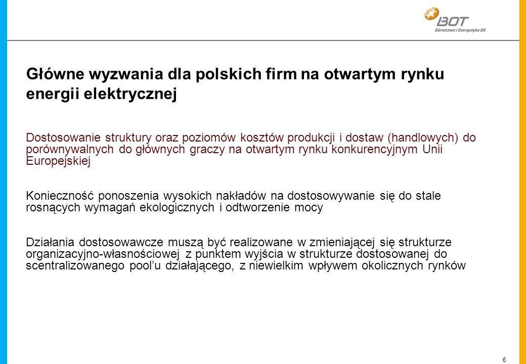 6 Linien Główne wyzwania dla polskich firm na otwartym rynku energii elektrycznej Dostosowanie struktury oraz poziomów kosztów produkcji i dostaw (han
