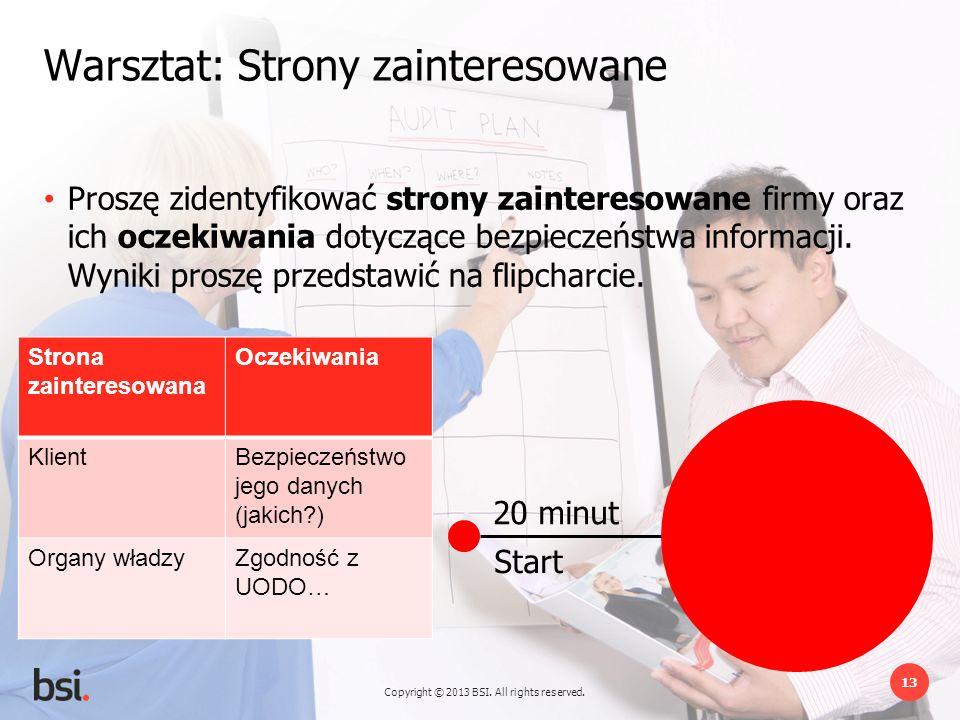Copyright © 2013 BSI. All rights reserved. 13 20 minut Start Warsztat: Strony zainteresowane Proszę zidentyfikować strony zainteresowane firmy oraz ic