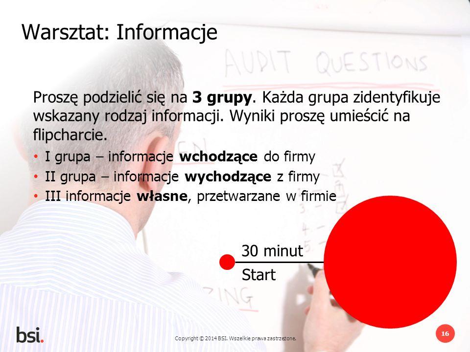 Copyright © 2014 BSI. Wszelkie prawa zastrzeżone. 16 30 minut Start Warsztat: Informacje Proszę podzielić się na 3 grupy. Każda grupa zidentyfikuje ws