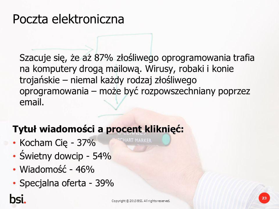 Copyright © 2013 BSI. All rights reserved. 23 Poczta elektroniczna Szacuje się, że aż 87% złośliwego oprogramowania trafia na komputery drogą mailową.