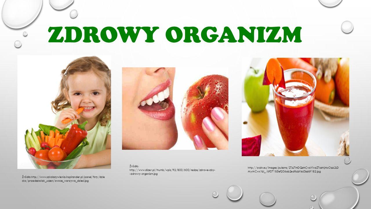 ZDROWY ORGANIZM Źródło:http://www.szkolazywienia.inspirander.pl/panel/foty/dzie cko/przedszkolak_uczen/owoce_warzywa_dzieci.jpg Źródło: http://www.diz