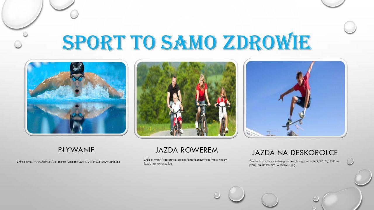 SPORT TO SAMO ZDROWIE PŁYWANIE JAZDA ROWEREM JAZDA NA DESKOROLCE Źródło:http://www.finity.pl/wp-content/uploads/2011/01/p%C5%82ywanie.jpg Źródło: http