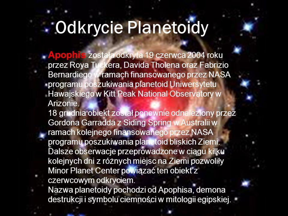 Odkrycie Planetoidy Apophis została odkryta 19 czerwca 2004 roku przez Roya Tuckera, Davida Tholena oraz Fabrizio Bernardiego w ramach finansowanego p
