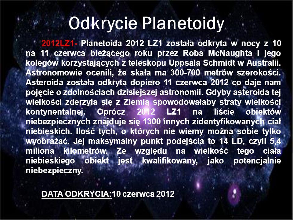 Odkrycie Planetoidy 2012LZ1- Planetoida 2012 LZ1 została odkryta w nocy z 10 na 11 czerwca bieżącego roku przez Roba McNaughta i jego kolegów korzysta