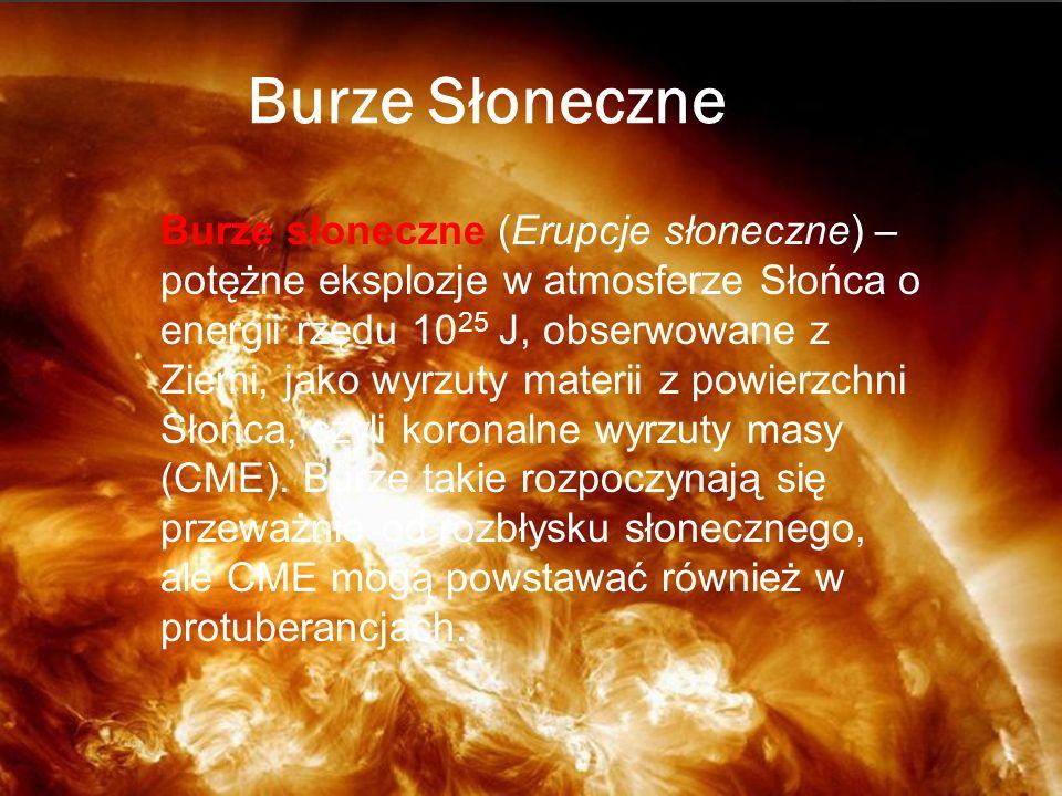 Burze Słoneczne Burze słoneczne (Erupcje słoneczne) – potężne eksplozje w atmosferze Słońca o energii rzędu 10 25 J, obserwowane z Ziemi, jako wyrzuty