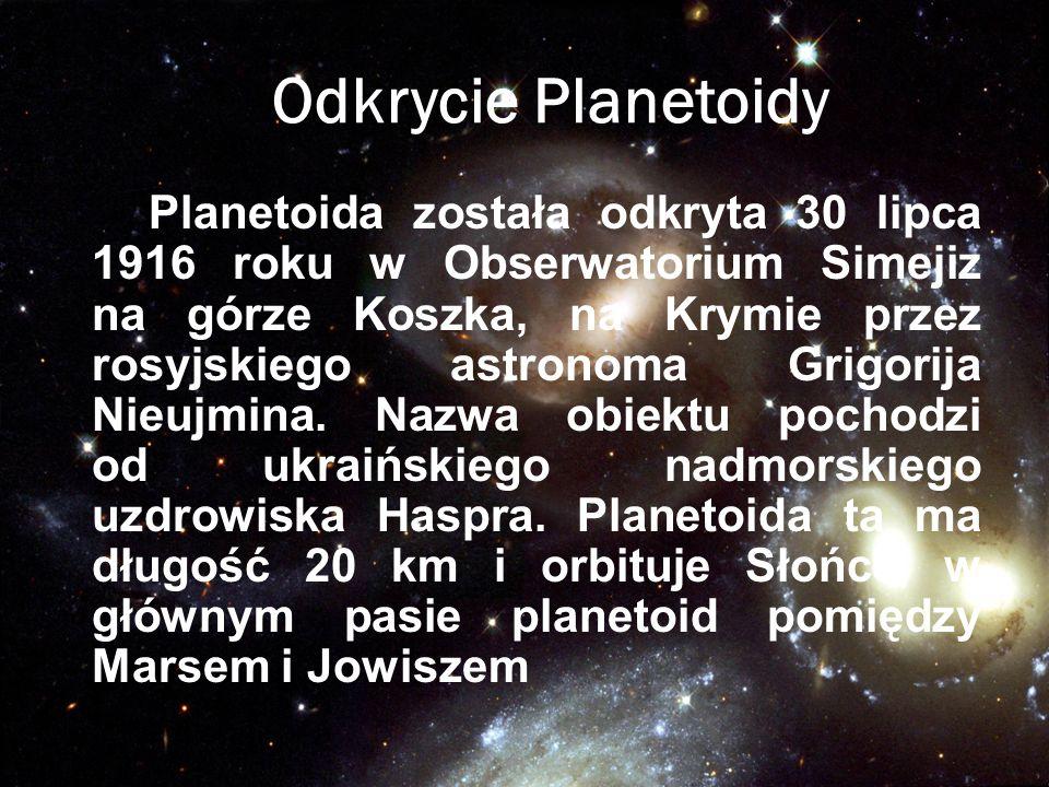 Odkrycie Planetoidy Planetoida została odkryta 30 lipca 1916 roku w Obserwatorium Simejiz na górze Koszka, na Krymie przez rosyjskiego astronoma Grigo