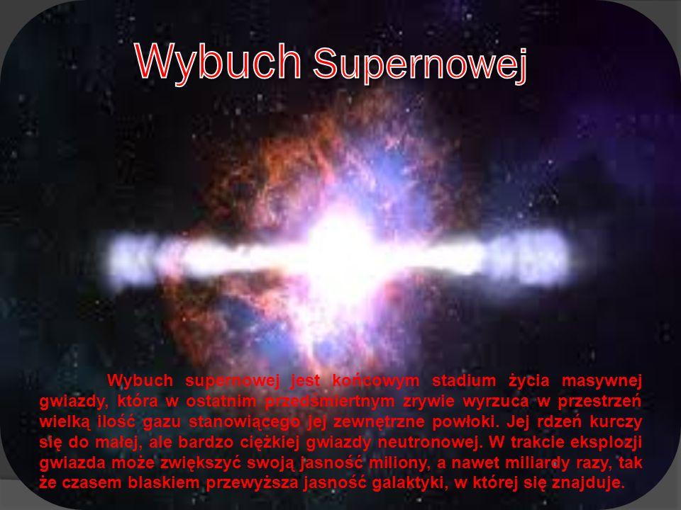 Wybuch supernowej jest końcowym stadium życia masywnej gwiazdy, która w ostatnim przedśmiertnym zrywie wyrzuca w przestrzeń wielką ilość gazu stanowią