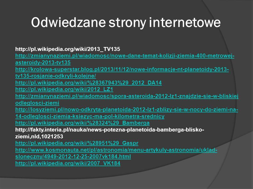 Odwiedzane strony internetowe http://pl.wikipedia.org/wiki/2013_TV135 http://zmianynaziemi.pl/wiadomosc/nowe-dane-temat-kolizji-ziemia-400-metrowej- a