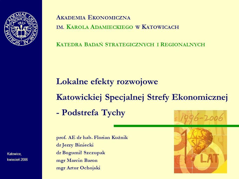 Lokalne efekty rozwojowe Katowickiej Specjalnej Strefy Ekonomicznej - Podstrefa Tychy DANE SYNTETYCZNE