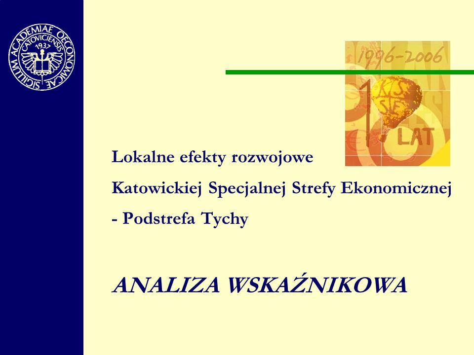 Lokalne efekty rozwojowe Katowickiej Specjalnej Strefy Ekonomicznej - Podstrefa Tychy ANALIZA WSKAŹNIKOWA