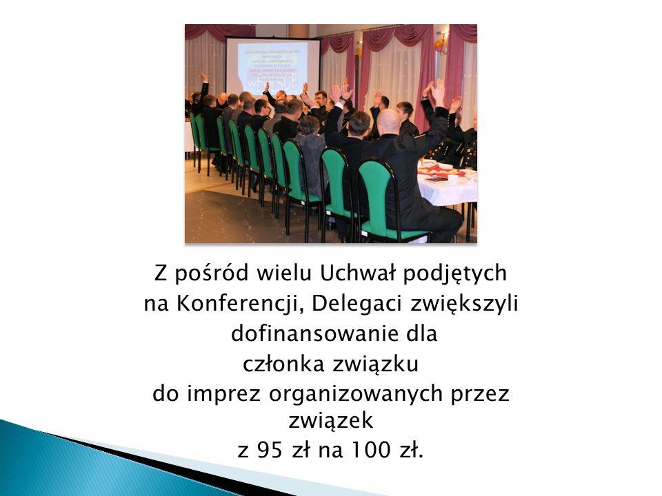 Z pośród wielu Uchwał podjętych na Konferencji, Delegaci zwiększyli dofinansowanie dla członka związku do imprez organizowanych przez związek z 95 zł