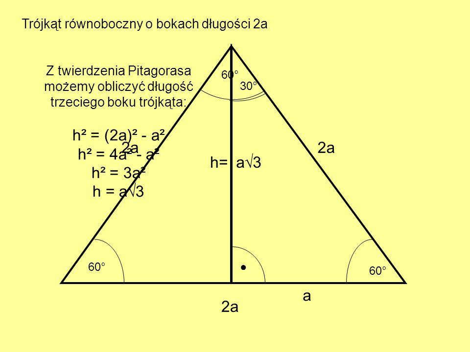 2a 60° a 30° a3a3 Trójkąt równoboczny o bokach długości 2a Z twierdzenia Pitagorasa możemy obliczyć długość trzeciego boku trójkąta: h² = (2a)² - a² h² = 4a² - a² h² = 3a² h = a3 h=