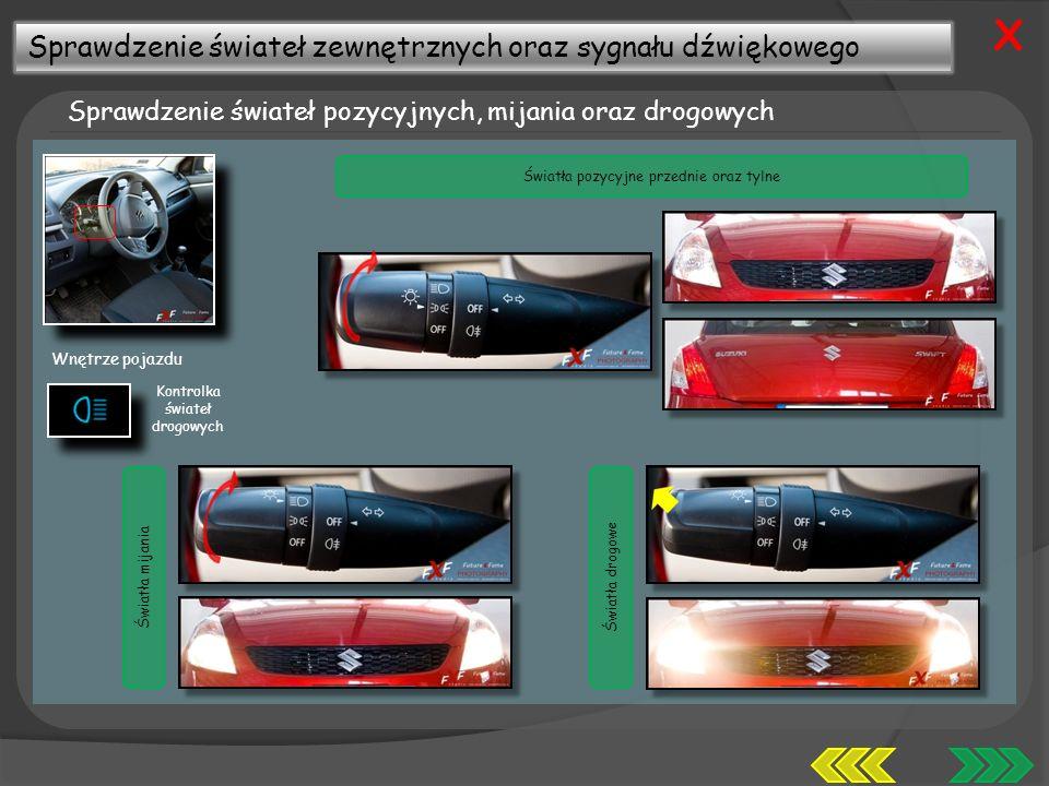 Sprawdzenie świateł zewnętrznych oraz sygnału dźwiękowego Sprawdzenie świateł pozycyjnych, mijania oraz drogowych X Światła mijaniaŚwiatła drogowe Światła pozycyjne przednie oraz tylne Wnętrze pojazdu Kontrolka świateł drogowych