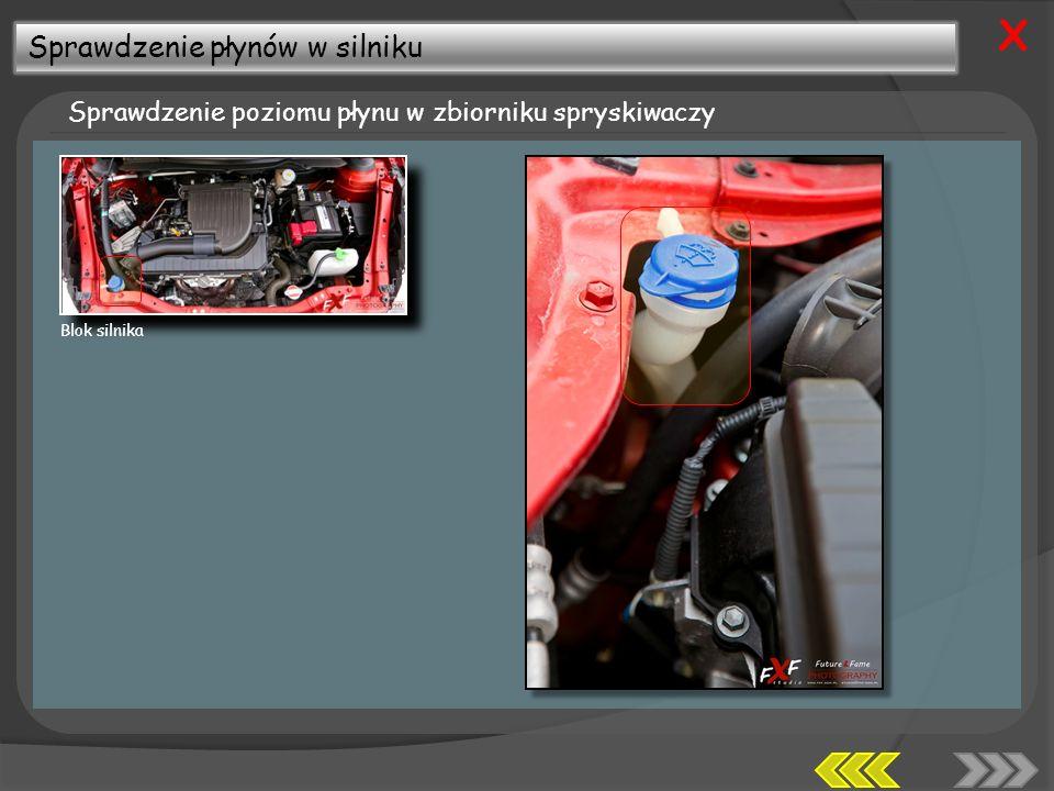 Sprawdzenie płynów w silniku Sprawdzenie poziomu płynu w zbiorniku spryskiwaczy X Blok silnika
