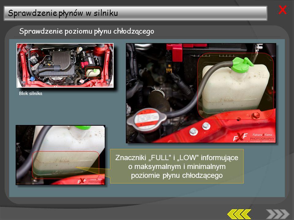 Sprawdzenie płynów w silniku Sprawdzenie poziomu płynu chłodzącego X Znaczniki FULL i LOW informujące o maksymalnym i minimalnym poziomie płynu chłodzącego Blok silnika
