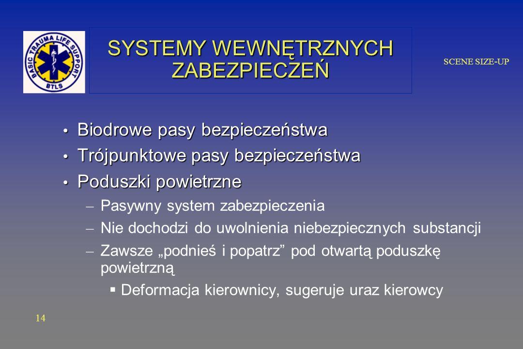 SCENE SIZE-UP SYSTEMY WEWNĘTRZNYCH ZABEZPIECZEŃ Biodrowe pasy bezpieczeństwa Biodrowe pasy bezpieczeństwa Trójpunktowe pasy bezpieczeństwa Trójpunktowe pasy bezpieczeństwa Poduszki powietrzne Poduszki powietrzne – Pasywny system zabezpieczenia – Nie dochodzi do uwolnienia niebezpiecznych substancji – Zawsze podnieś i popatrz pod otwartą poduszkę powietrzną Deformacja kierownicy, sugeruje uraz kierowcy 14