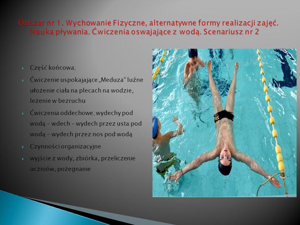 Część końcowa; Ćwiczenie uspokajające Meduza luźne ułożenie ciała na plecach na wodzie, leżenie w bezruchu Ćwiczenia oddechowe; wydechy pod wodą – wdech – wydech przez usta pod wodą – wydech przez nos pod wodą Czynności organizacyjne wyjście z wody, zbiórka, przeliczenie uczniów, pożegnanie