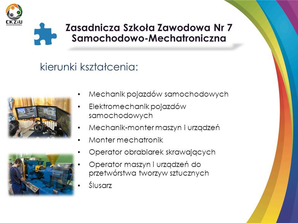 kierunki kształcenia: Mechanik pojazdów samochodowych Elektromechanik pojazdów samochodowych Mechanik-monter maszyn i urządzeń Monter mechatronik Oper