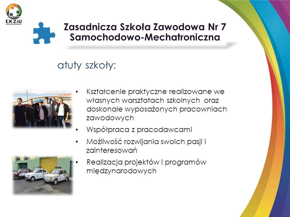 atuty szkoły: Kształcenie praktyczne realizowane we własnych warsztatach szkolnych oraz doskonale wyposażonych pracowniach zawodowych Współpraca z pra