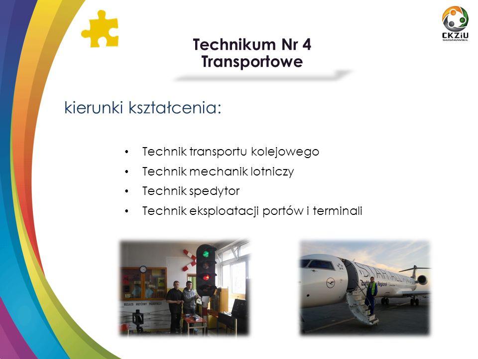 Technikum Nr 4 Transportowe kierunki kształcenia: Technik transportu kolejowego Technik mechanik lotniczy Technik spedytor Technik eksploatacji portów