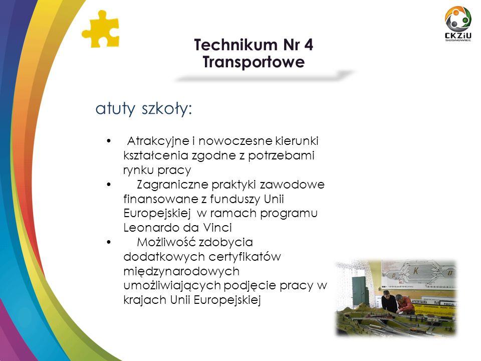 Technikum Nr 4 Transportowe atuty szkoły: Atrakcyjne i nowoczesne kierunki kształcenia zgodne z potrzebami rynku pracy Zagraniczne praktyki zawodowe f