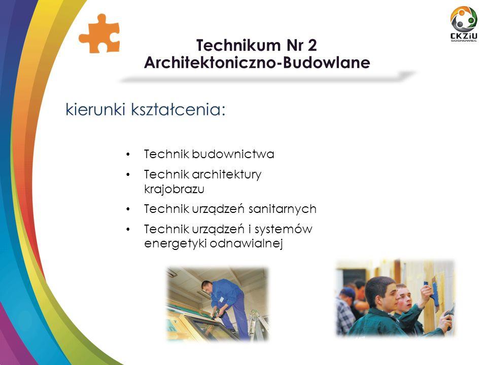 Technikum Nr 2 Architektoniczno-Budowlane kierunki kształcenia: Technik budownictwa Technik architektury krajobrazu Technik urządzeń sanitarnych Techn