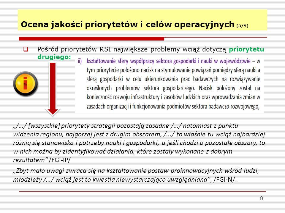 Ocena jakości priorytetów i celów operacyjnych [4/5] 9 RSI uwzględnia liczny zestaw celów operacyjnych.