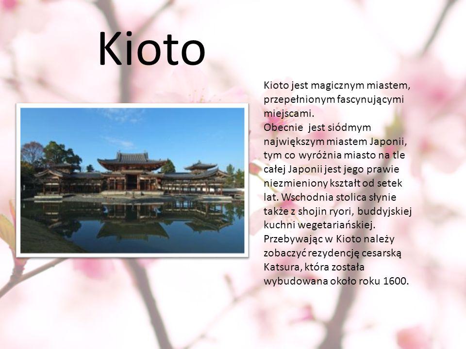 Kioto Kioto jest magicznym miastem, przepełnionym fascynującymi miejscami. Obecnie jest siódmym największym miastem Japonii, tym co wyróżnia miasto na