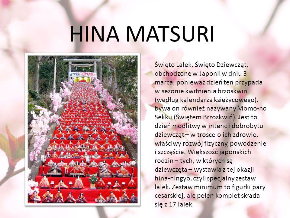 HINA MATSURI Święto Lalek, Święto Dziewcząt, obchodzone w Japonii w dniu 3 marca, ponieważ dzień ten przypada w sezonie kwitnienia brzoskwiń (według k