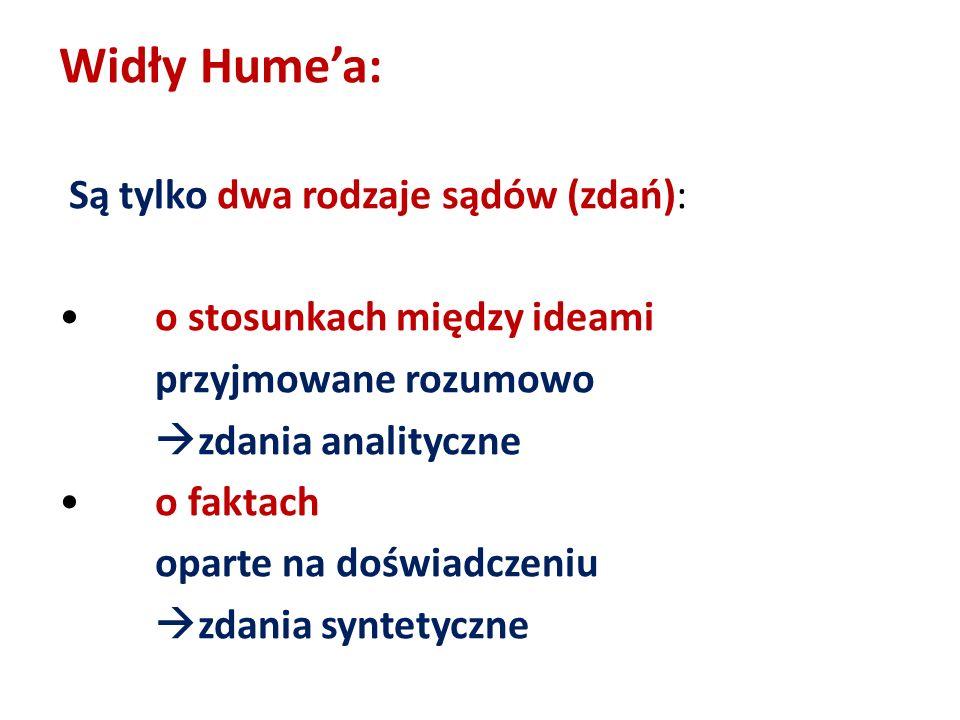 Widły Humea: Są tylko dwa rodzaje sądów (zdań): o stosunkach między ideami przyjmowane rozumowo zdania analityczne o faktach oparte na doświadczeniu z