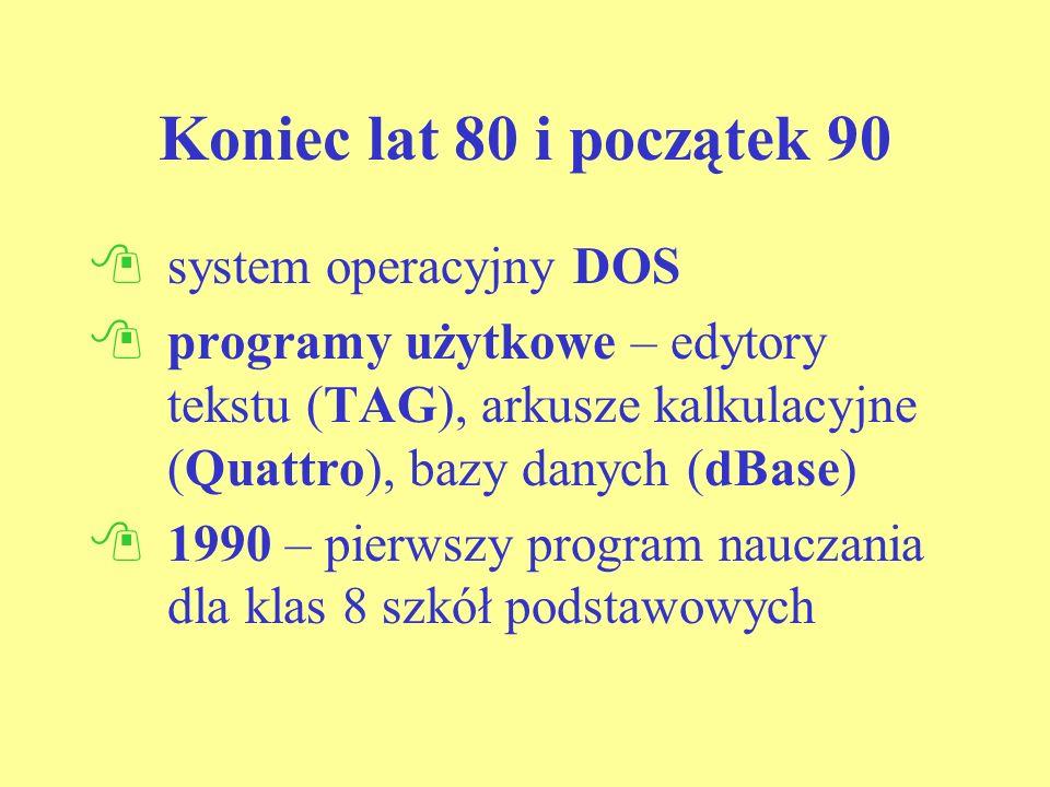 Koniec lat 80 i początek 90 system operacyjny DOS programy użytkowe – edytory tekstu (TAG), arkusze kalkulacyjne (Quattro), bazy danych (dBase) 1990 – pierwszy program nauczania dla klas 8 szkół podstawowych