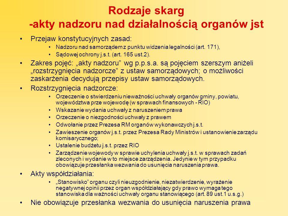 Rodzaje skarg -akty nadzoru nad działalnością organów jst Przejaw konstytucyjnych zasad: Nadzoru nad samorządem z punktu widzenia legalności (art. 171
