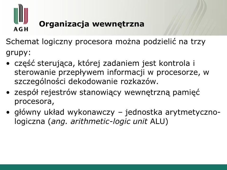 Organizacja wewnętrzna Schemat logiczny procesora można podzielić na trzy grupy: część sterująca, której zadaniem jest kontrola i sterowanie przepływe