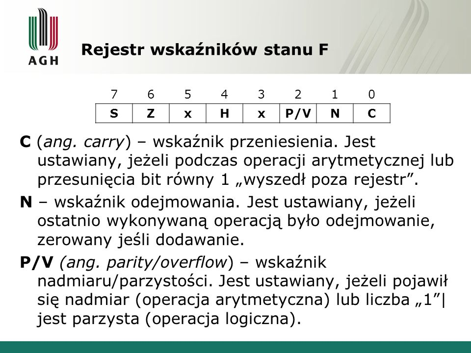 Rejestr wskaźników stanu F C (ang. carry) – wskaźnik przeniesienia. Jest ustawiany, jeżeli podczas operacji arytmetycznej lub przesunięcia bit równy 1