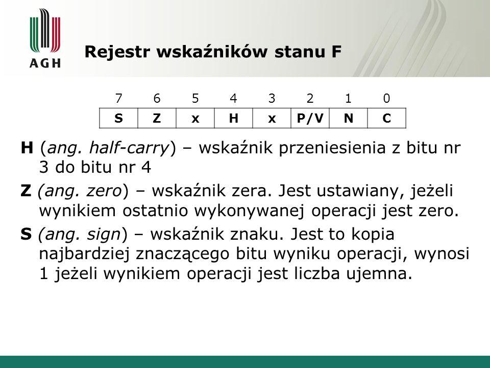 Rejestr wskaźników stanu F H (ang. half-carry) – wskaźnik przeniesienia z bitu nr 3 do bitu nr 4 Z (ang. zero) – wskaźnik zera. Jest ustawiany, jeżeli