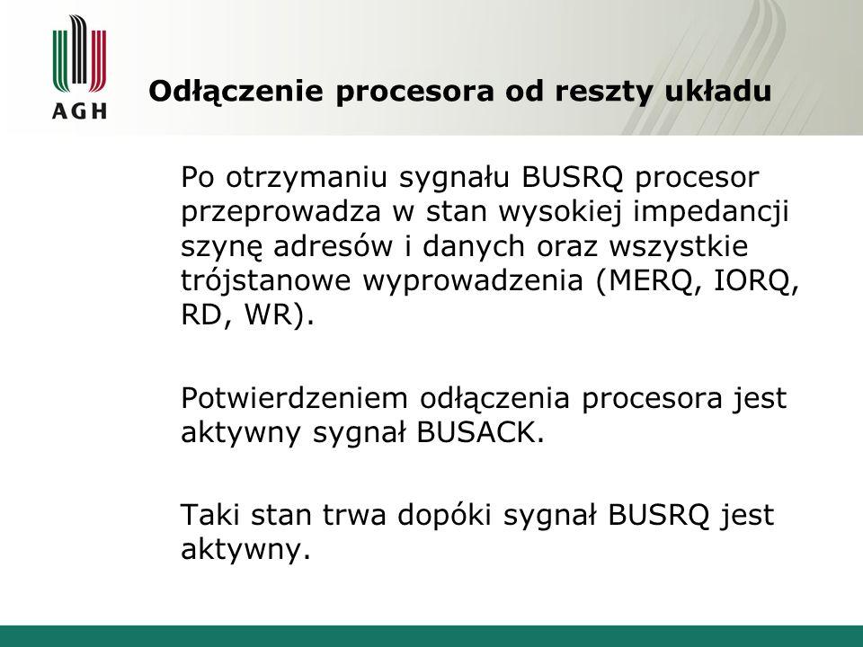 Odłączenie procesora od reszty układu Po otrzymaniu sygnału BUSRQ procesor przeprowadza w stan wysokiej impedancji szynę adresów i danych oraz wszystk