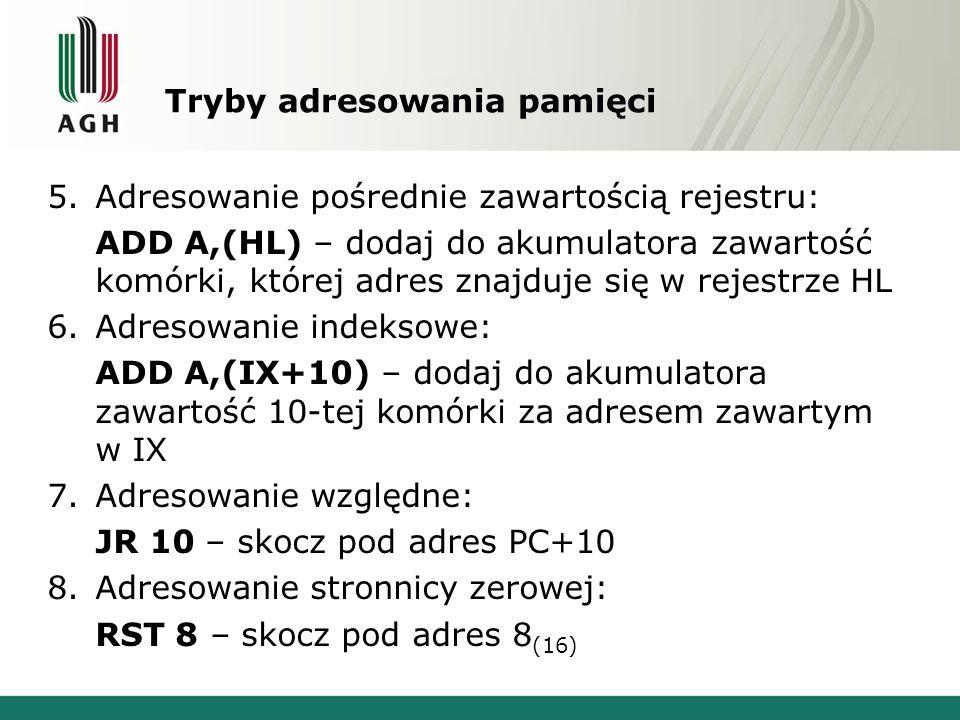 Tryby adresowania pamięci 5.Adresowanie pośrednie zawartością rejestru: ADD A,(HL) – dodaj do akumulatora zawartość komórki, której adres znajduje się