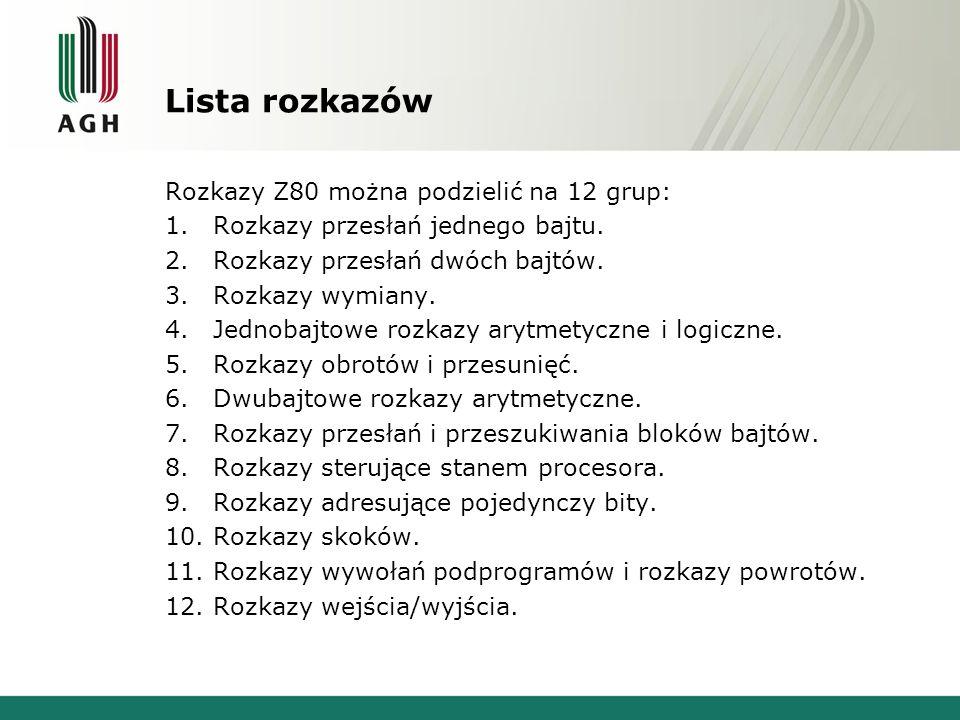 Lista rozkazów Rozkazy Z80 można podzielić na 12 grup: 1.Rozkazy przesłań jednego bajtu. 2.Rozkazy przesłań dwóch bajtów. 3.Rozkazy wymiany. 4.Jednoba